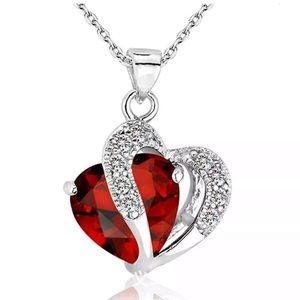 Silver Red Heart Clear Crystal Pendant Necklace